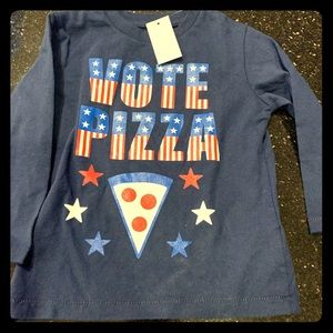 "NWT GAP long sleeve ""vote for pizza"" tee shirt"